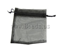 Free shipping!!!Jewelry Drawstring Bags,New Arrival, Organza, translucent, black, 100x120mm, 100PCs/Bag, Sold By Bag
