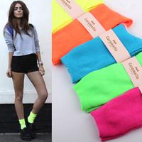 Harajuku neon socks pile of pile of socks socks low tube socks vintage 100% cotton female