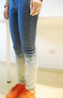 Harajuku gradient color mid waist trousers jeans skinny pants roll-up hem female pants