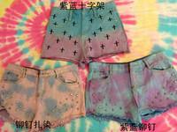 Denim shorts gradient color rivet fashion HARAJUKU hole gradient tie-dyeing shorts