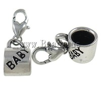 Free shipping!!!Zinc Alloy Lobster Clasp Charms Cheap Jewelry Wholesale Cup platinum color plated nickel lead & cadmium free