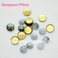 Free Shipping-White 5*5mm 200pcs/lot(100pcs Turquoise Jelly Stone+100pcs metal base) Nail Jewelry Flat Rhinestones Decorations