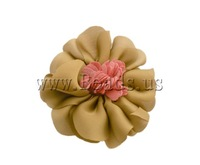 Free shipping!!!Fashion Decoration Flowers,Kawaii,, Satin Ribbon, with Cloth, earth yellow, 60x60mm, 40PCs/Lot, Sold By Lot