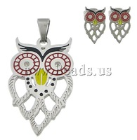 Free shipping!!!Stainless Steel Jewelry Sets,2013 fashion free shipping, pendant & earring, Owl, enamel & with rhinestone