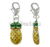 Free shipping!!!Zinc Alloy Lobster Clasp Charm,for Jewelry, Pineapple, silver color plated, enamel, nickel, lead & cadmium free