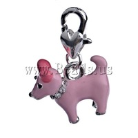 Free shipping!!!Zinc Alloy Lobster Clasp Charm,Wholesale Lot, Sheep, enamel, pink, nickel, lead & cadmium free, 27x18.50x7mm