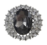Free shipping!!!Zinc Alloy Finger Ring,2013 new fashion, with Glass, Oval, platinum color plated, with rhinestone, nickel