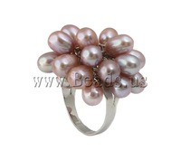 Free shipping!!!Freshwater Pearl Finger Ring,Statement Jewelry, Cultured Freshwater Pearl, with Brass, purple, 6-7mm, 24-29mm