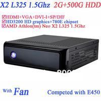 IPC Industrial personal Computer 2G RAM 500G secc chassis HDD HDMI VGA DVI AMD Athlon tm Neo X2 L325 1.5Ghz HD3200 graphic 780E