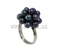 Free shipping!!!Freshwater Pearl Finger Ring,Celebrity, Cultured Freshwater Pearl, with Brass, dark blue, 4-5mm, 18-19mm