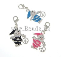 Free shipping!!!Zinc Alloy Lobster Clasp Charm,2013 new, with Brass, Santa Claus, silver color plated, enamel, mixed colors