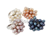 Free shipping!!!Freshwater Pearl Finger Ring,Costume jewelry, Cultured Freshwater Pearl, with Brass, mixed colors, 6-7mm