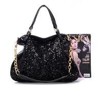Fashion Women Lady Handbag Leather Tote Bags promotion Purse black sequins