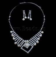 Free shipping!!!Natural Cultured Freshwater Pearl Jewelry Sets,Jewelry Fashion, earring & necklace, with Rhinestone, Round