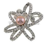 Free shipping!!!Rhinestone Brooch,2013 new fashion girl, Flower, with rhinestone, silver, 45x49x23mm, 9-10mm, Sold By PC