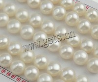 Free shipping!!!Half Drilled Cultured Freshwater Pearl Beads,Gothic, Round, natural, half-drilled, white, 9.5-10mm