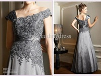 Hot Sexy Silver Gray Applique Sequin Mother of the Bride Dress Prom/Evening/Bridal Gown Dresses 5525