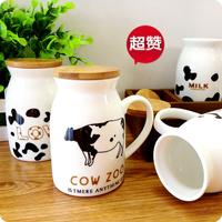 Black milk cup ceramic mug coffee cup lovers wool lid