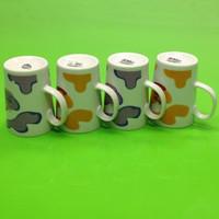 Coffee print ceramic cup mug cup lovers mug cup with handle cup