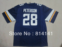 Wholesale-Free Shipping Kids Cheapest 2013 New Style American Football Jersey Adrian Peterson #28 Game Purple Mix Order