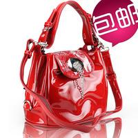 Bags 2013 women's handbag fashion japanned leather red bridal one shoulder cross-body bag bucket