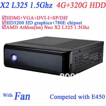 4G RAM 320G HDD Windows 7 mini pc AMD Athlon tm Neo X2 L325 1.5Ghz HD3200 graphic with 780E secc chassis HDMI DVI-I