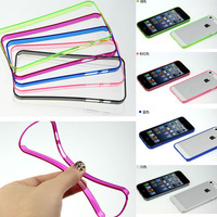 0.2MM Ultra Thin Bumpers Frame for iphone 5S , Transparent Clear Slim Soft Flexible Hard Case Bumper For iPhone 5 5S 300pcs/lot