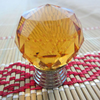 10PCS  FOB 30mm Top Quality K9 Crystal Glass Door Knobs Drawer Cabinet Furniture Kitchen Handle  -Yellows