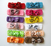 "36pcs/lot, 3.3""-3.5"" baby ribbon zebra bows with clip on crochet headbands hairbands,mix colors"