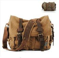 New NWT Men Women Canvas Cow Leather Shoulder Bag Messenger Bag School Bag