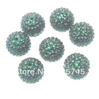 Free shipping.100pcs Christmas Green Resin Rhinestone 22mm Chunky Beads
