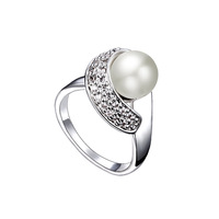 CDE Fashion Women Pearl Rings Natural Pearls with 100% High quality Czech Crystal Ring Jewelry Making R0058
