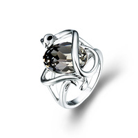 CDE Platinum Black Crystal Women Rings Snake Style Party Rings Jewelry Made With Swarovski Element R0226