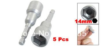 "5 Pcs Gray Metal 1/4"" Shank 14mm Hex Socket Nut Setter Spanner Driver Bits"