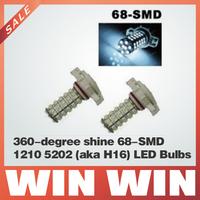 360-degree shine 68-SMD 1210 5202 (aka H16) LED Bulbs For Fog Lights, Daytime Running Lights or Driving Lights