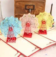 2014 Free shipping hot sale 3D Handmade windmill hide in love  Pop UP cards  40 series