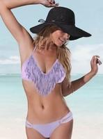 Fashion wholesale ML1024 Women bathing suit,sexy purple bikini, fringe swimsuits