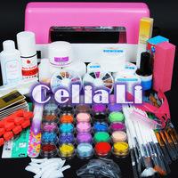 Peo 9W uv pink dryer lamp 30 colors Acrylic Powders gel  tips acrylic kit UV GEL KIT Brush tips Nail Art tools Kits 305