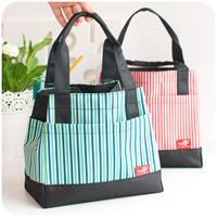 Free shipping / oxford fabric lunch bag / square stripe small handbag / storage bag / food preservation bag