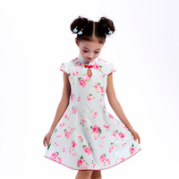 Girls summer clothing expansion bottom cheongsam dress w3279v