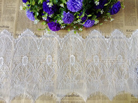 3 YARDS/PIECE 29CM(11.4'') WIDE LT172 GARMENT DIY NYLON EMBROIDERY OFF WHITE EYELASH LACE FABRIC TRIM WIDE