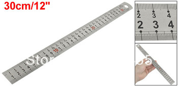 "Carpentry Stainless Metal 30cm 8"" Double Scale Straight Ruler Measuring Tool"