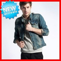 2013 F / W  Top Quality Men's Fashion Combed Cotton  Slim   Denim  Jacket  / Overcoat  G1489