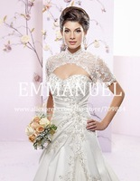 Applique High Neck Wraps for Gowns Wedding Jackets Bridal Lace Bolero Jacket with Sleeve J032