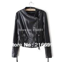 2014 new fashion  Europe women fashion Elegant Black PU leather Jackets vintage long sleeve casual slim coats#W606