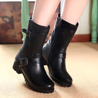 Free shipping, 2013 autumn and winter genuine leather boots womens low-heeled  platform motorcycle shoes