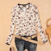Free Shipping 2014 New Women's V-neck  Long-sleeve Cotton Shirt/ Animal Print  Blouse blusas femininas