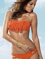 ML1030 New Arrival Summer Ladies Bathing Suit  Orange Tassel Padded Bandeau Fringe Bikini Swimwear Women Size S/M/L/XL