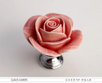 100pcs/lot wholesale ceramic cabinet knob, Rose knob for cupboard, Kitchen cabinet hardware knob