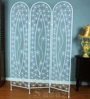 Fashion white rustic wrought iron folding fan screen entranceway off screen partition cutout flower window